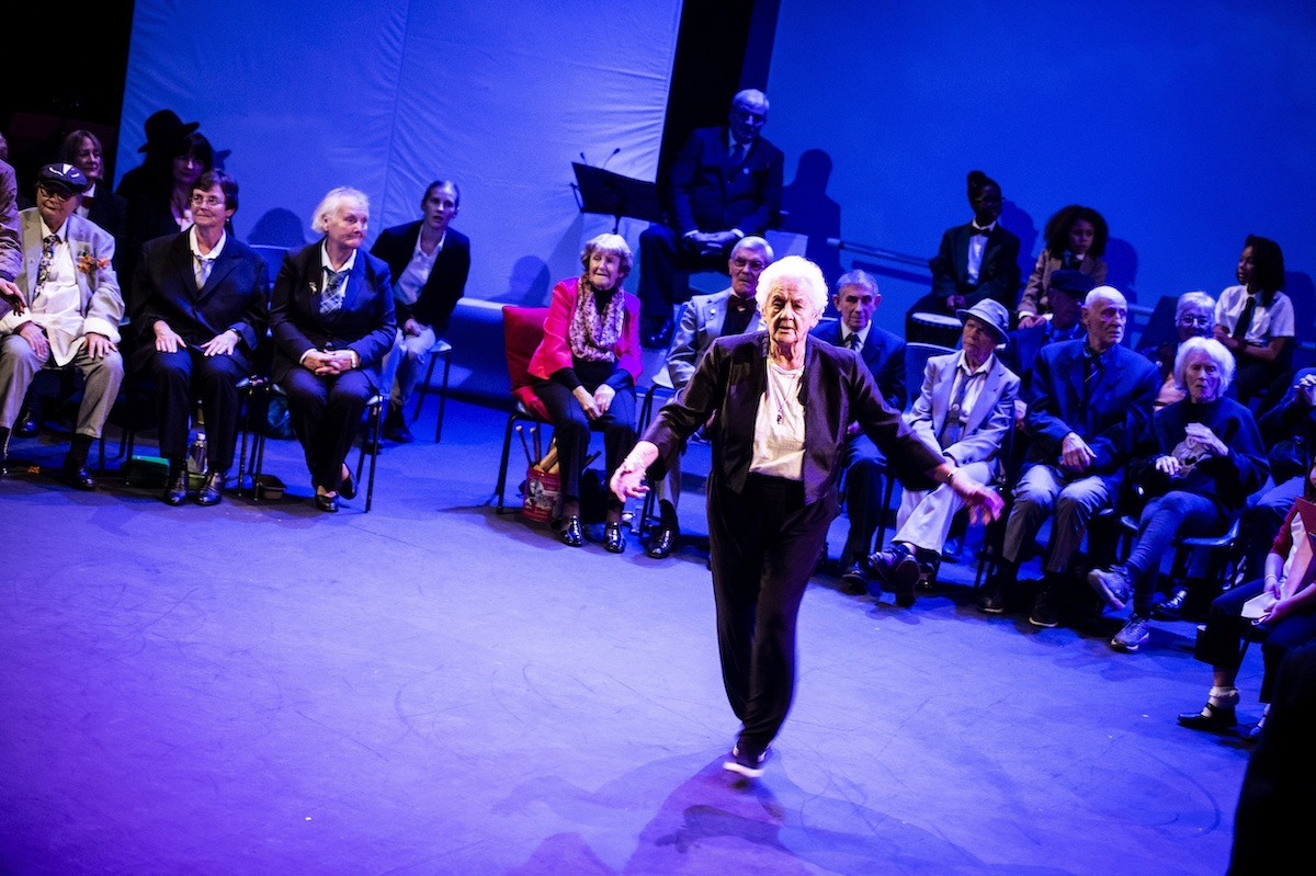 Elderly people dancing on stage