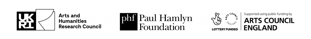 Logos of AHRC, Arts Council England and Paul Hamlyn Foundation