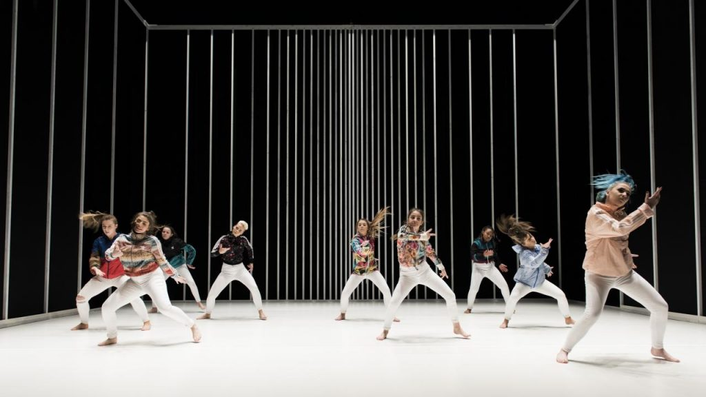 Dancers on a white floor