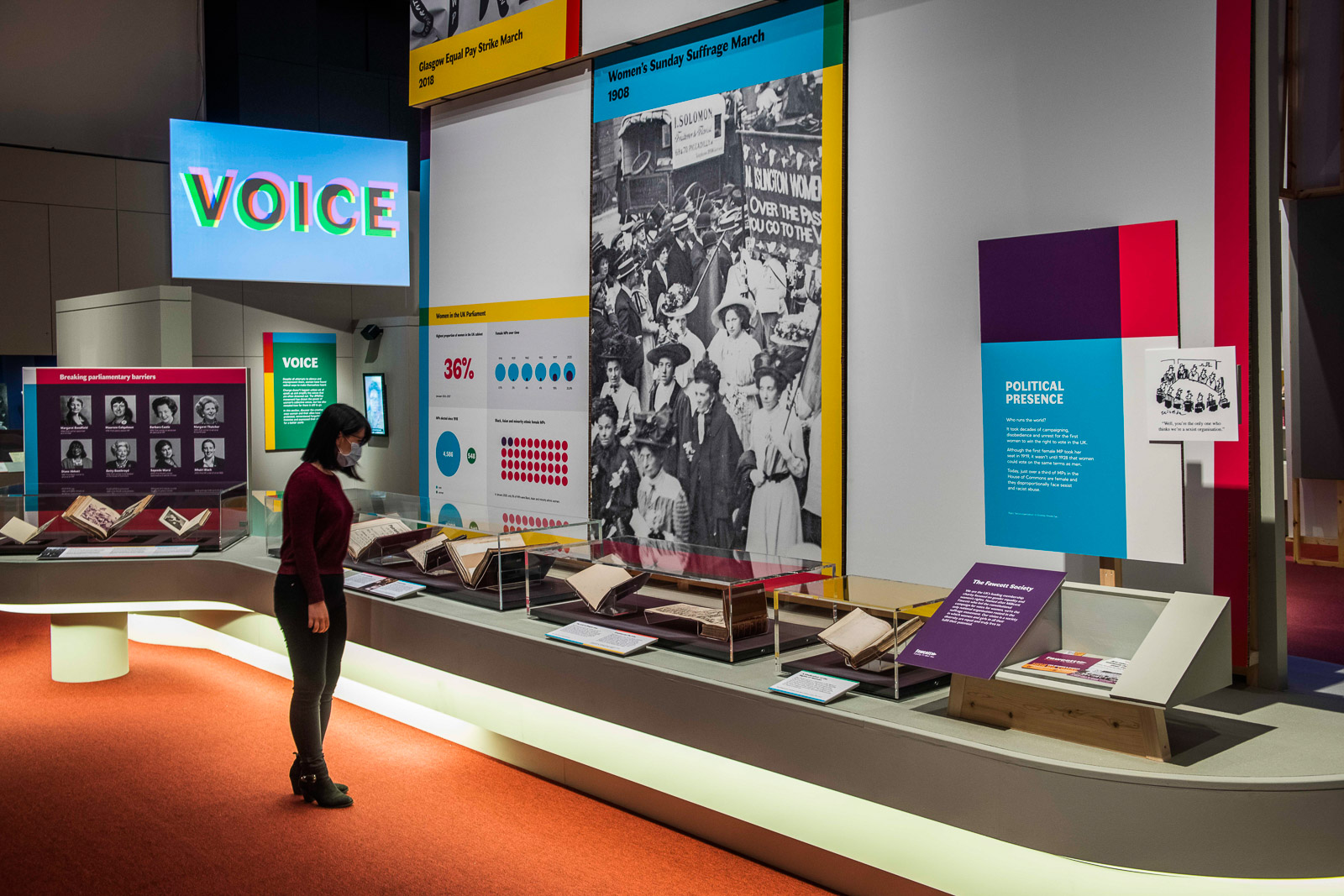 Images of socially distanced visitors at the Unfinished Business: the fight for women's rights and Hebrew Manuscripts: journeys of the written word exhibitions at British Library St Pancras