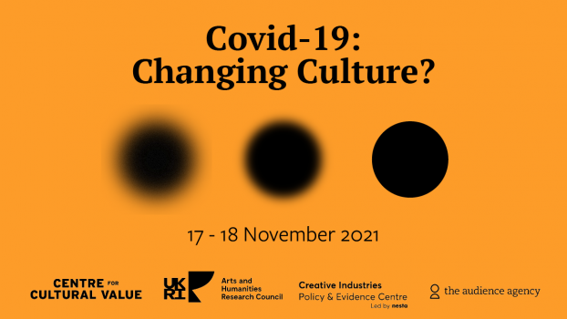 This is the title graphic of the conference. It is rectangular. The background is orange and the text is black. The title reads: 'Covid-19: Changing Culture?' Below the title, there are three black circles arranged in a line. The circle at the left hand side of the line is very blurry, the middle one is slighty more in focus but still blurry. The circle at the right hand side is in sharp focus with clean lines. From left to right, it looks like the scircles increase in focus. Below the shapes, there is another text which reads: '17-18 November 2021.' Below this text are a line of logos. From left to right: The Centre for Cultural Value logo (a wordmark spelling 'Centre for Cultural Value'). The UKRI /AHRC logo (a wordmark spelling 'UKRI / Arts and Humanities Research Council'). The Creative Industries Policy and Evidence Centre logo (a wordmark spelling 'Creative Industries Policy and Evidence Centre Led by Nesta'). The Audience Agency logo (a wordmark spelling 'the audience agency' with the outline of a shape that looks like a head and shoulders of a person).